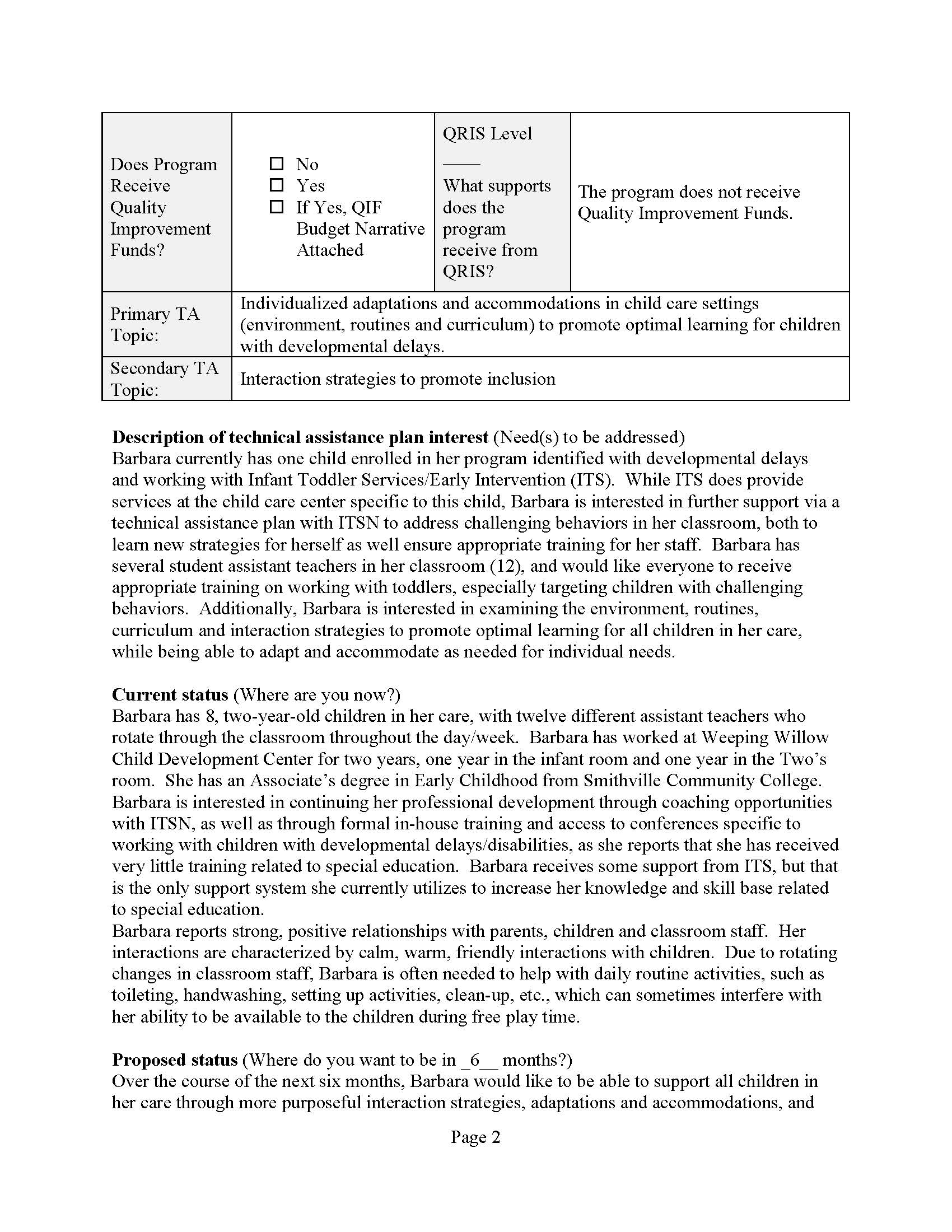 Page 2 KCCTO-KITS ITSN Technical Assistance Plan Example